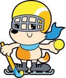 Cane del fumetto di serie piccolo che gioca hockey con la palla illustrazione di stock