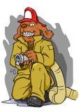 Cane del pompiere con il tubo flessibile Fotografia Stock Libera da Diritti
