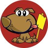 Cane della mascotte con il segno Immagini Stock