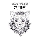 Cane 2018 dello zodiaco Disegno di nuovo anno Priorità bassa di natale Illustrazione di vettore Immagini Stock