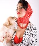 Cane di animale domestico e della donna Immagini Stock Libere da Diritti