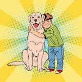 Cane di Art Cheerful Boy Embracing Pet di schiocco royalty illustrazione gratis