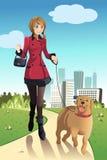 Cane di camminata della donna Fotografia Stock
