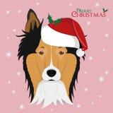 Cane di Collie Rough con il cappello rosso del ` s di Santa illustrazione vettoriale