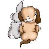Cane di cucciolo e del coniglio Fotografie Stock