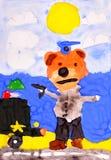 Cane di drawing.police del bambino Fotografia Stock Libera da Diritti