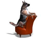 Cane di pastore tedesco. rappresentazione 3D con il residuo della potatura meccanica Immagine Stock Libera da Diritti