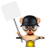 Cane divertente del motociclista che si siede su un selettore rotante Fotografie Stock
