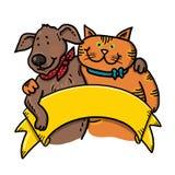 Cane e Cat Holding un'illustrazione del segno Immagine Stock
