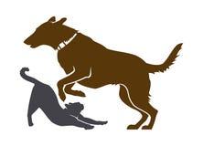 Cane e Cat Silhouettes Icona di servizio dell'animale domestico royalty illustrazione gratis