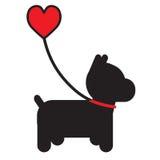 Cane e cuore Fotografia Stock