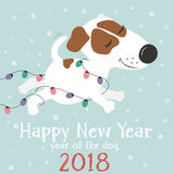 Cane e luci di Natale bianchi divertenti Immagini Stock Libere da Diritti