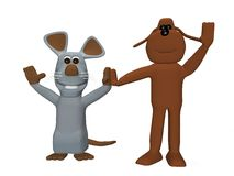 Cane e mouse svegli Fotografia Stock