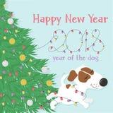 Cane ed albero di Natale bianchi divertenti Fotografie Stock