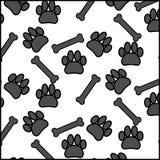 Cane ed osso senza cuciture della stampa del piede di picchiettio Fotografie Stock Libere da Diritti