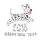 Cane felice come simbolo 2018, su fondo bianco Progettazione E Immagine Stock Libera da Diritti
