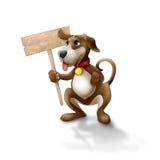 Cane felice con il segno Fotografie Stock Libere da Diritti