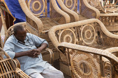 Cane furnitures, Indian handicrafts fair Stock Photos