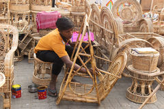 Cane furnitures, Indian handicrafts fair Royalty Free Stock Images