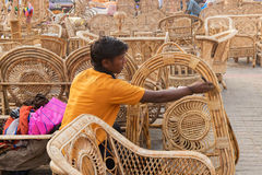 Cane furnitures, Indian handicrafts fair Royalty Free Stock Photos