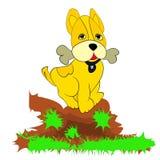Cane giallo allegro, osso nei denti, fumetto su un fondo bianco fotografie stock libere da diritti