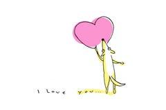 Cane giallo che disegna grande cuore rosa sul San Valentino Immagine Stock