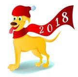 Cane giallo del ` s del nuovo anno al nuovo anno 2018 Immagini Stock