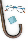 Cane,glasses, pill box health aids for elderly Stock Image