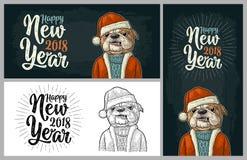 Cane il Babbo Natale in cappello, cappotto Iscrizione dell'buon anno Fotografia Stock Libera da Diritti