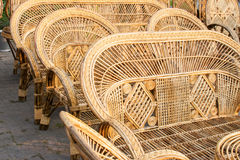 Cane made chairs, handicraft items on display , Kolkata Stock Photo