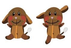 Cane marrone sorridente divertente della peluche Fotografia Stock Libera da Diritti