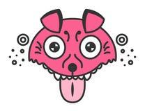 Cane pazzo Cucciolo rosa del fumetto Illustrazione divertente isolata su bianco Fotografie Stock