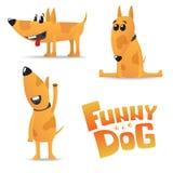 Cane rosso divertente in punti con un collare immagini stock
