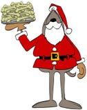 Cane Santa Claus che tiene un piatto delle ossa illustrazione vettoriale