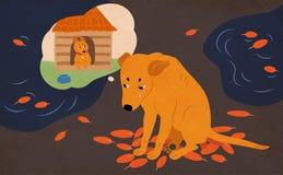 Cane senza tetto triste che si siede sulla via coperta di foglie e di pozze di autunno, gridare e sognanti dell'adozione e della  royalty illustrazione gratis