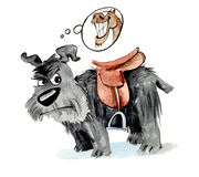 Cane Shaggy con la sella royalty illustrazione gratis