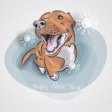Cane, simbolo del nuovo anno 2018 cane rosso che si siede nella forma del ` del buon anno del ` dell'iscrizione Elemento per il n Immagine Stock