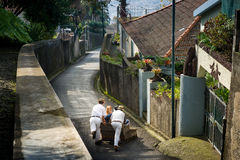 Cane sledge downhill ride on asphalt streets of Funchal. Royalty Free Stock Image