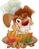 Cane sorridente il cuoco unico con la zolla Fotografia Stock