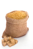 Cane sugar. In small burlap sack Stock Images