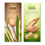 Cane Sugar Banners Set Stock Photos