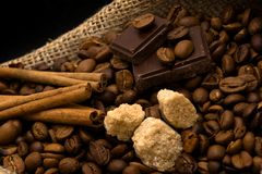 Cane-sugar, chocolate and spices Stock Photos