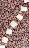 Cane sugar and coffee beans Royalty Free Stock Images
