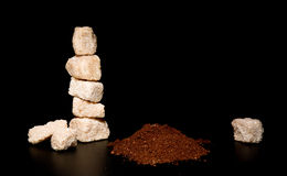 Cane sugar and coffee powder Stock Photo