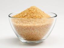 Cane sugar in a glass bowl stock photo