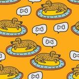 Cane sul modello di sonni della coperta Fondo domestico di sogno dell'animale domestico illustrazione di stock