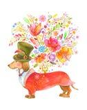 Cane sveglio che dà i fiori Immagini Stock Libere da Diritti