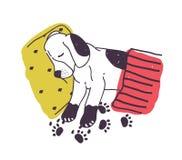 Cane sveglio con le zampe sporche che dorme a letto sotto la coperta Cucciolo impertinente in modo divertente isolato su fondo bi royalty illustrazione gratis