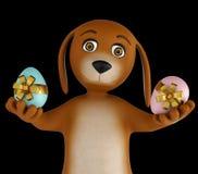 Cane sveglio del fumetto con le uova di Pasqua isolate su fondo nero 3d rendono immagini stock