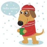Cane sveglio del fumetto in un cappuccio e un maglione e un caffè Fotografia Stock